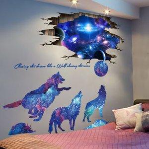 Universo Galaxy Adesivos de Parede Vinil DIY Moon Wolves Decalques Mural para Quartos Kids Decoração de Bebê Decoração LJ201128
