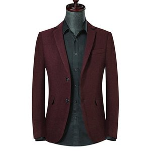 Men Business Wine Red Woolen Dress Suit Jacket Vintage Male Casual Long Sleeve Oversized Formal Wool Suits Slim Fit Boys Blazers