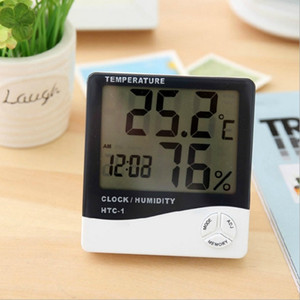 Digital LCD Temperature Hygrometer Clock Indoor Electronic Humidity Meter Thermometer with Clock Calendar Alarm Clock HTC-1 DBC BH4159