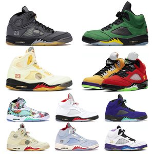 Wholesale Jumpman 5 5s Mens Womens Basketball Shoes White off Fire Red What The SatinJordanRetro Alternate Bel Sneakers Trainers