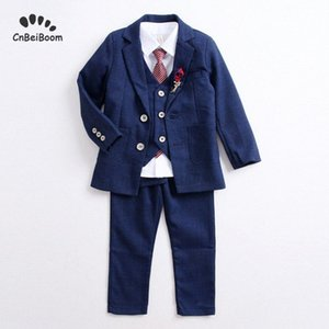 Boy suits Flower Boys Evening Formal Blazer Clothing Set Kids Jacket Vest Pants Wedding Tuxedo Suit Children Birthday Costume knrS#