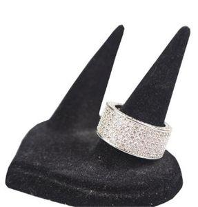 250Pcs jewelry Diamonique simulated diamond white full topaz 10KT White Gold Filled Diamond CZ women Wedding band Finger Ring 63 L2