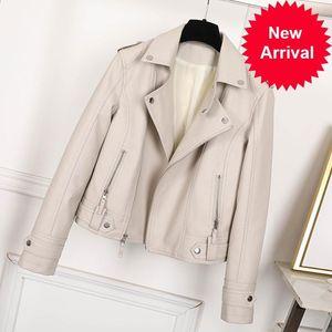 가죽 여성 가짜 자켓 베이지 색 캐주얼 슬림 오토바이 바이커 가죽 코트 여성 펑크 스트리트 봄 가을 재킷