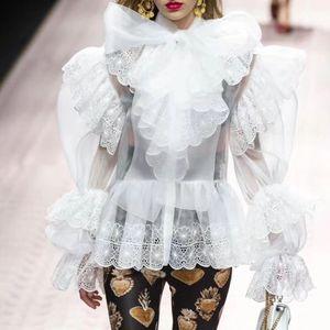 Européen et américain passerelle arc organza coutures dentelle transparent chemise à manches lanterne (code cassé offre spéciale) t