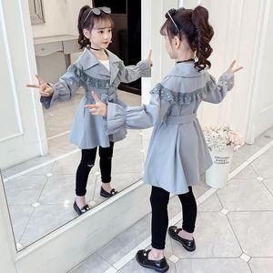Cutyome Moda Güz 2020 Çocuk Casual Trençkot Fırfır Dantel Genç Kızlar Vintage Uzun Ceket Çocuk Giyim Paltolar 12Y1