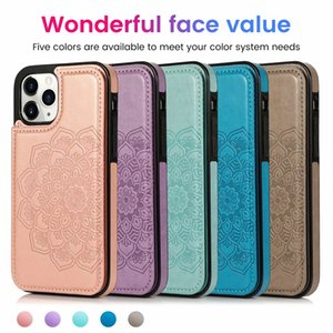 Mandala Flower ID Card Slot Leather Back Case For Iphone 12 2020 11 Pro MAx XR XS MAX X 7 6 Galaxy S20 Note 20 A51 A71 Magnetic Cover Holder