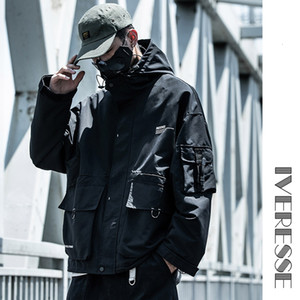 Techwear Hooded Tactical Military Hip Hop Jackets Coats for Men Casual Pockets Men's Overalls Bomber Jacket Streetwear Outerwear 201120