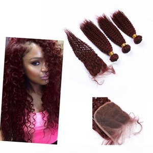"""Indian # 99J color coser en paquetes con cierre de 4 """"* 4"""" Kinky Weave Weave Bundle con el cabello humano de cierre"""