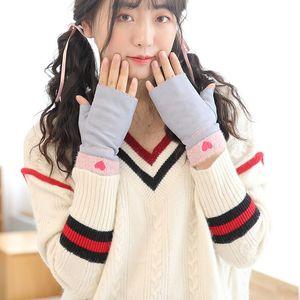 Glove girl autumn and winter lovely sweet Korean simple fashion cartoon thin student writing warm half finger gloves