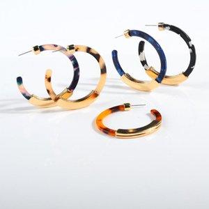 Fashion Double-sided Alloy Acrylic Earrings for Women Acetic Acid C-shaped Big Hoop Earrings Bohemian Ear Jewelry Accessories1