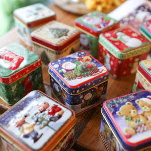 New Christmas small square box tinplatecandy biscuit gift box packing christmas decoration storage free shipping hot sale