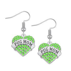 Rhinestone Crystal Stone Hearts Shape Name Words Pug Mom Earring Drop Ship Yiwu Factory Fashion