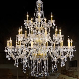 Luxury Morden 3 layers 28 Lights Large Gold silver stair Long Crystal Chandelier Lighting Restaurant Hotel Hall villa large lamp