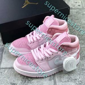 Новый змеинойИорданияРетро 1S Mid рынк Digital Pink Кроссовки Баскетбольная обувь Конструктор 1 Девушки корзинки дез Chaussures Zapatos РОС