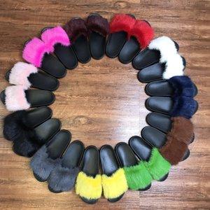 Pelzfrauen Hausschuhe Süße Süßigkeiten Farbe Weiche Warme Echte volle Nerz Haar Fuzzy Hausschuhe Rutschen Maultiere Frauen Offene TOE Flache Schuhe mit Box Größe 35-42
