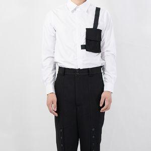 2020 QISHI S-6XL BADUN erkek gömlek Dikiş Tasarımcısı Cepler Komple Kollu Kıyızlıklar Benzersiz Göğüslü Şarkı Gömlek Artı Boyutu Giysileri XA16