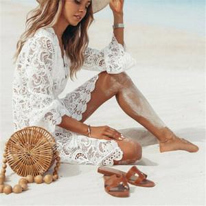 Summer Lace creux Crochet Bikini couvrante Maillot de bain femme florale blanche Tunique Robe de plage Sarong Plage Wrap Maillot de bain C1023