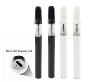 NEW Rechargeable Disposable Vape Pen Ceramic Coil Empty Glass Cartridge 0.5ml Thick Oil Tank Vaporizer Pen With Bottom USB Charging Port