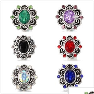 Fashion 30Pcs Lot 18Mm Snap Button Charm Chunk Crystal Antique Silver Diy Jewelry Retro Ginger Snap Metal Fit Bracelet Necklace Ring Rahye