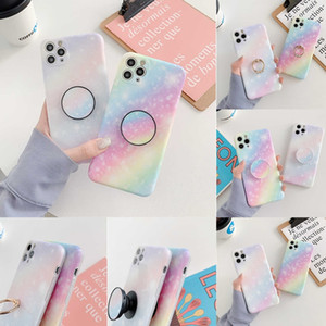 NEWEST Rainbow Gradient Starry sky Phone Case For iPhone 12 For iphone 11 Pro Max 7Plus 8 Plus XSMAX XR XS SE 2020 Soft IMD Marble Cover