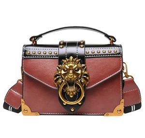 Women Vintage Small Handbags High Quality PU Leather Crossbody Bag Rivet Lion Head Ladies Shoulder Hand Bag