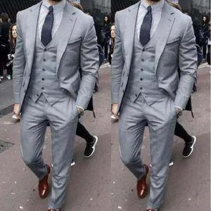 Formal Grey Men's Suits Wedding Groom Business Work Wear Prom Blazer Classic Fit Tuxedos 3PCS Dress Jacket+Vest+Pants
