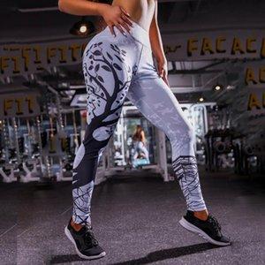 Womens Fashion Leaf Printed Sexy Pants Push Up High Waist Legins Digital Tree Print Slim Polyester Hara juku Leggings Size S XL