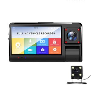 브와 적외선 야간 조명 및 후면 카메라 3CH 카메라 렌즈 앞에 FHD1080P 내부 3.0 인치 터치 스크린 자동차 DVR 캠