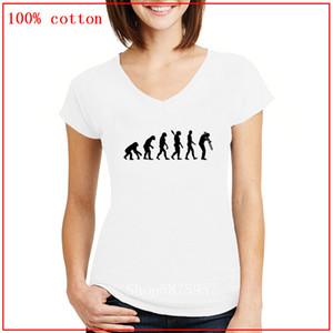 Nouveau Design Évolution Trombone confortable Tous cou coton T-shirts V hauts pour femmes 2020 T-shirts imprimés Haut recadrées Feminino Tops d'été
