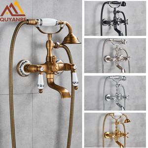 Antique Brass goldene Badewanne Duscharmatur Set Dual-Knöpfe Mischer-Hahn-Wand befestigte Bad-Dusche-Satz Swivel Tub Spout Badewanne Dusche 1011
