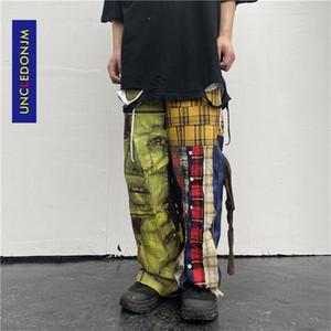 UNCLEDONJM Lattice Patchwork Hip Hop Harajuku Casual Pants High Street Design Ins Fashion Men Trousers T2-A002 Q1110