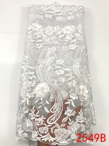 2020 French Lace Fabric High Quality 3D Flowers Embroidered African Tulle Lace Fabric Nigerian Laces Fabrics with Stones KS2549B
