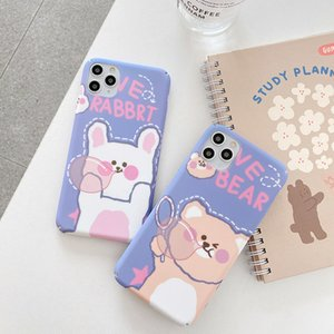 Blowing bear and rabbit mobile phone case for Apple 11 mobile phone case xsmax XR all-inclusive hard shell 7plus 6splus matte 6s
