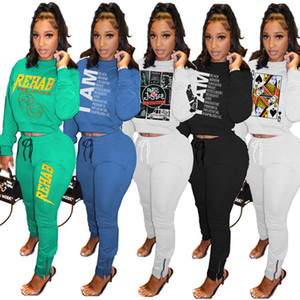 Womens 2 Piece Set Tenues manches longues Survêtement jogging Sportsuit Shirt Leggings dames Nouveau Mode Sweat Pantalons Costume Sport