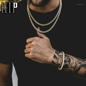 Hip Hop Tennis Chain CZ Stone 4MM Bling Iced Out Gold Cubic Zircon Necklaces Bracelet For Men Jewelry 20 22 24inch1
