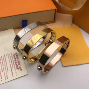 Designer Jewelry Bangle Rose Gold Silver Stainless Steel Luxury Simple Cross Pattern Buckle Love Jewelry Women Mens Bracelets Brand Cart