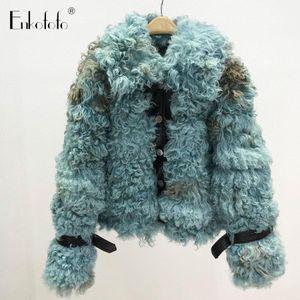 Real Tigrado Sheep Coat Women Winter High Street Cotton Liner Short Double-faced Natural Real Jackets Outerwear