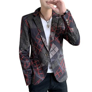 Autumn New Men Blazer Coat Wedding Party Jacket Fashion Slim Outerwear Gray Khaki Red Jaqueta Male Top S M XL XXL XXXL