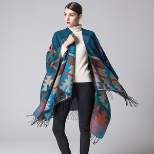 Indian geometric diamond lengthened and thickened cashmere like national style travel split Cape
