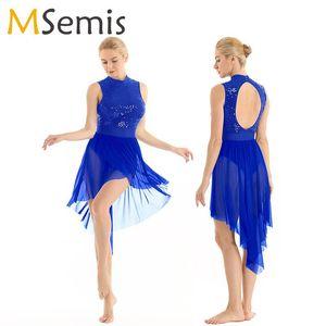 Frauen Lyrical Tanz Kostüme Ballettkleid Neckholder ärmellos Backless Glänzend Sequined High Low Mesh-Ballett-Trikotanzug Bodysuit