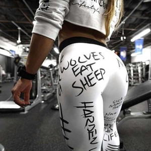 Women Letter Print Leggings Ladies Slim Fitness Leggings High Waist Elastic Streetwear Workout for Gym Sport Running Casual Wear