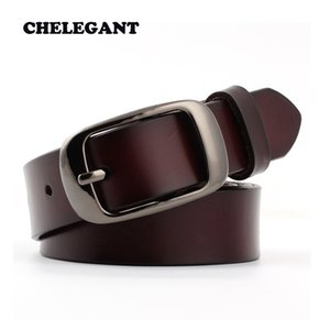 CHELEGANT Women's genuine leather vintage fashion belt high quality ladies All-match metal button belts for women with jeans