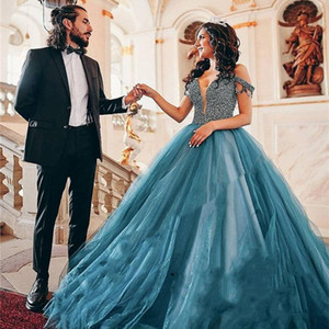 Luxury Beaded Quinceanera Dresses 2021 Dusty Blue Tulle Elegant Off the Shoulder Floor Length Sparkly Sequins Pageant Party Ball Gown