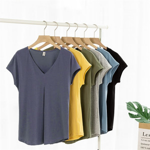 Casual Short Sleeve V-neck Summer Women Cotton T-Shirt Loose Tops Plus Size LJ200814