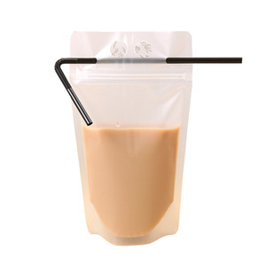 Clear Drink Pouches Bags frosted Zipper Stand-up Plastic Drinking Bag With Straw Holder Reclosable Heat-Proof Juice Coffee Liquid DWA2429