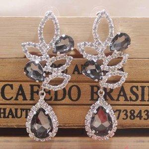 Beautiful brooding black wedding  party earring shiny women earring rose gold champagne Zerong new rhinestone1
