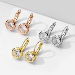 UILZ Simple and Stylish 5 Colors Zircon Hoop Earrings Charm Woman Preferred Party Engagement Jewelry Earrings UE2580