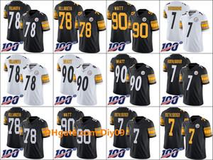 PittsburghladrõesMen # 78 Alejandro Villanueva 90 T. J. Watt 7 Ben Roethlisberger Mulheres JovensNFL 100 Jersey limitada
