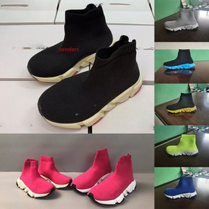 Fashion Ankle Boots Stretch Designer Running Kids Shoes Knit Stretch Fabric Sock Mid-Top Sneakers Speed Trainer children sneaker 24-35