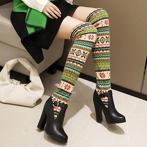 Thigh High Boots Women Plus Size 42 New 2020 Autumn Platform High Heels Over The Knee Knitting Elastic Stocking Sock Long Boots